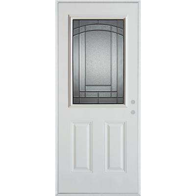 36 in. x 80 in. Chatham Patina 1/2 Lite 2-Panel Painted White Steel Prehung Front Door