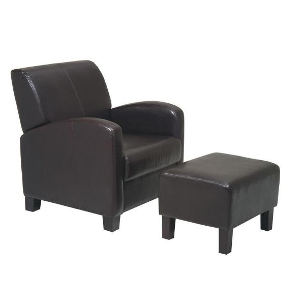 OSP Home Furnishings Espresso Vinyl Arm Chair with Ottoman MET807