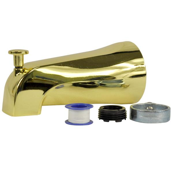 Diverter Tub Spout with Slip Fit and IPS Connection in Polished Brass