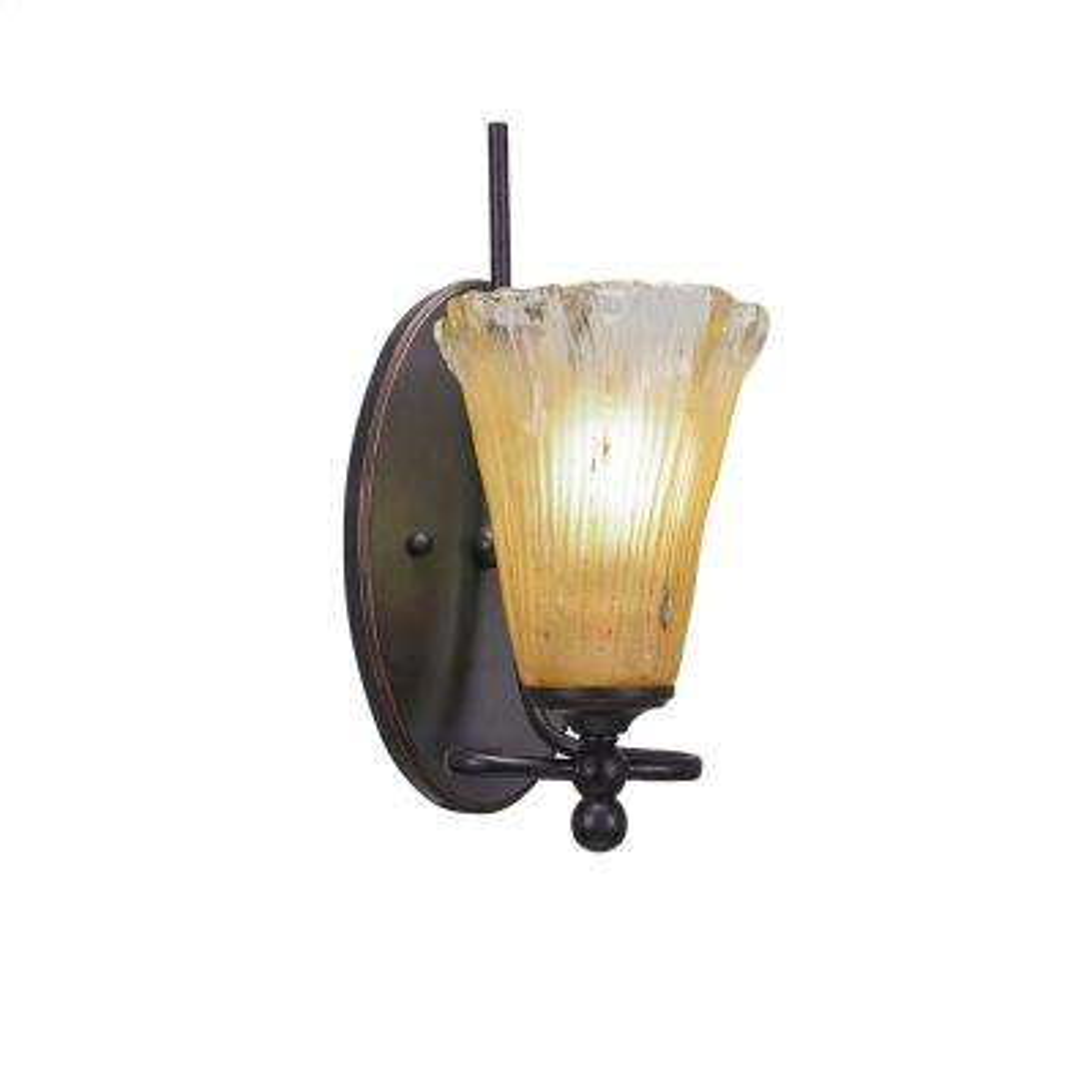 1-Light Dark Granite Sconce with Amber Ribbed Glass