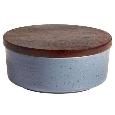 Urban Story 6.5 oz. 2-Piece Blue Ceramic Bowl Set with Lid