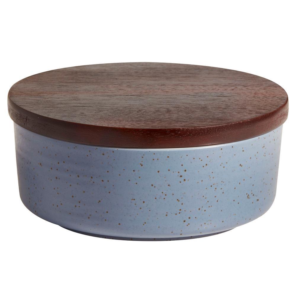 Libbey Urban Story 65 Oz 2 Piece Blue Ceramic Bowl Set With Lid
