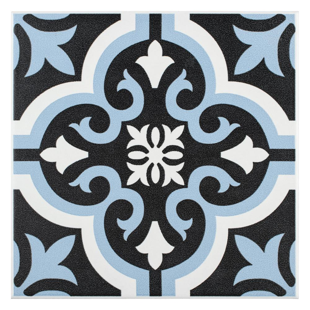 Braga Blue 7-3/4 in. x 7-3/4 in. Ceramic Floor and Wall