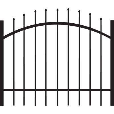 Cascade Standard-Duty 4 ft. x 3 ft. Black Aluminum Arched Pre-Assembled Fence Gate