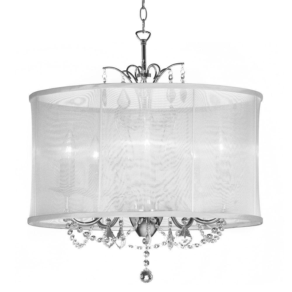 Radionic hi tech vanessa 5 light polished chrome maple droplets radionic hi tech vanessa 5 light polished chrome maple droplets crystal chandelier with white organza shade vna 20 5 119 the home depot mozeypictures Image collections