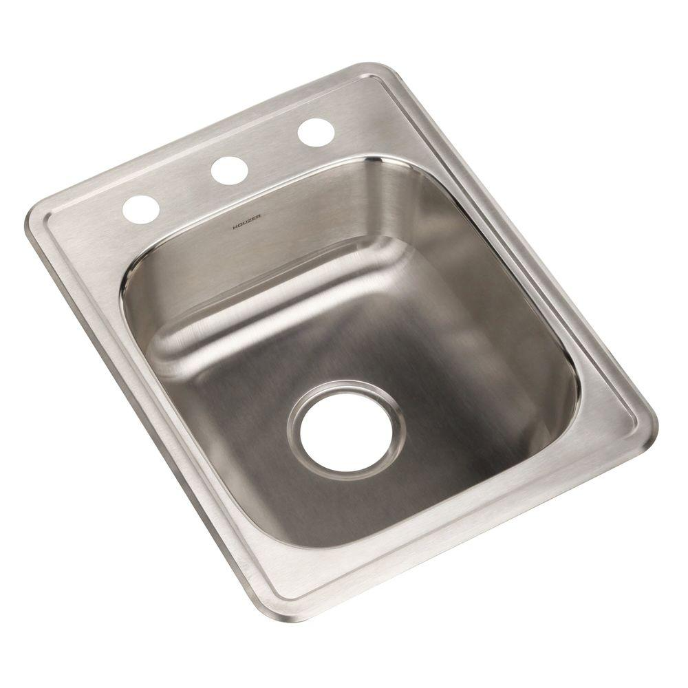 Hospitality Series Drop-In Stainless Steel 17 in. 3-Hole Bar/Prep Single Bowl