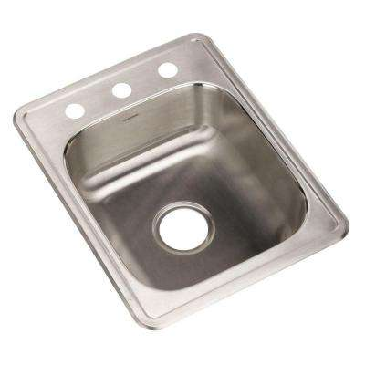 Hospitality Series Drop-In Stainless Steel 17 in. 3-Hole Bar/Prep Single Bowl Kitchen Sink