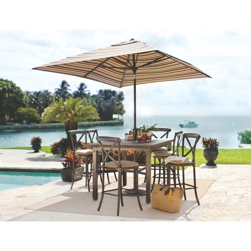 Home Decorators Collection Portillo Weathered Natural 7-Piece Counter Height Patio Dining Set with Wheat Cushions