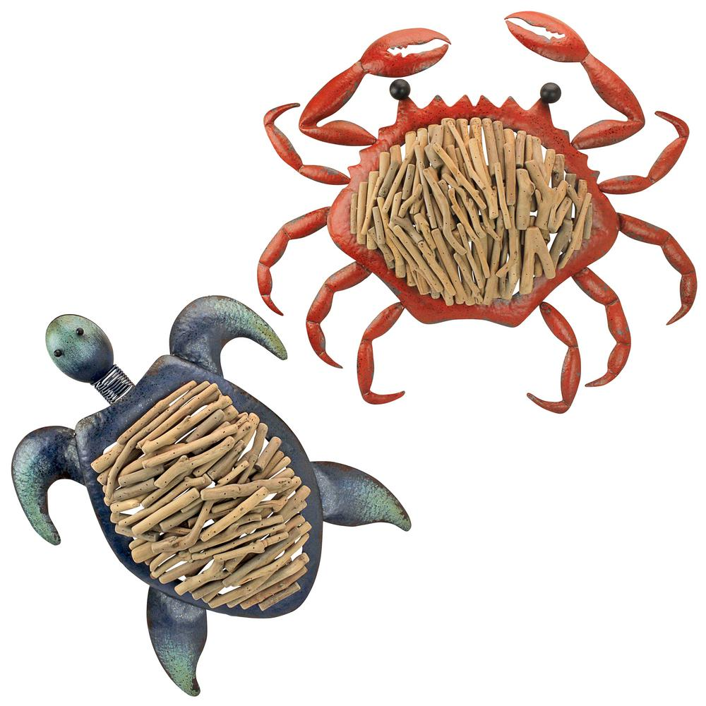 Design Toscano 28 In H Coastal Sea Life Sea Turtle And Coastal Crab Wall Art Set Of 2