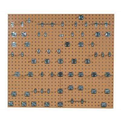 (2) 24 in. x 42-1/2 in. x 9/16 in. Tan Epoxy 18-Gauge Steel Square Hole Pegboards with Assorted (62-Pieces)