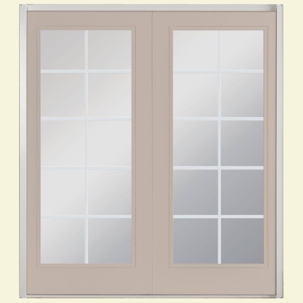Masonite 72 in. x 80 in. Canyon View Prehung Right-Hand Inswing 10 Lite Fiberglass Patio Door with No Brickmold