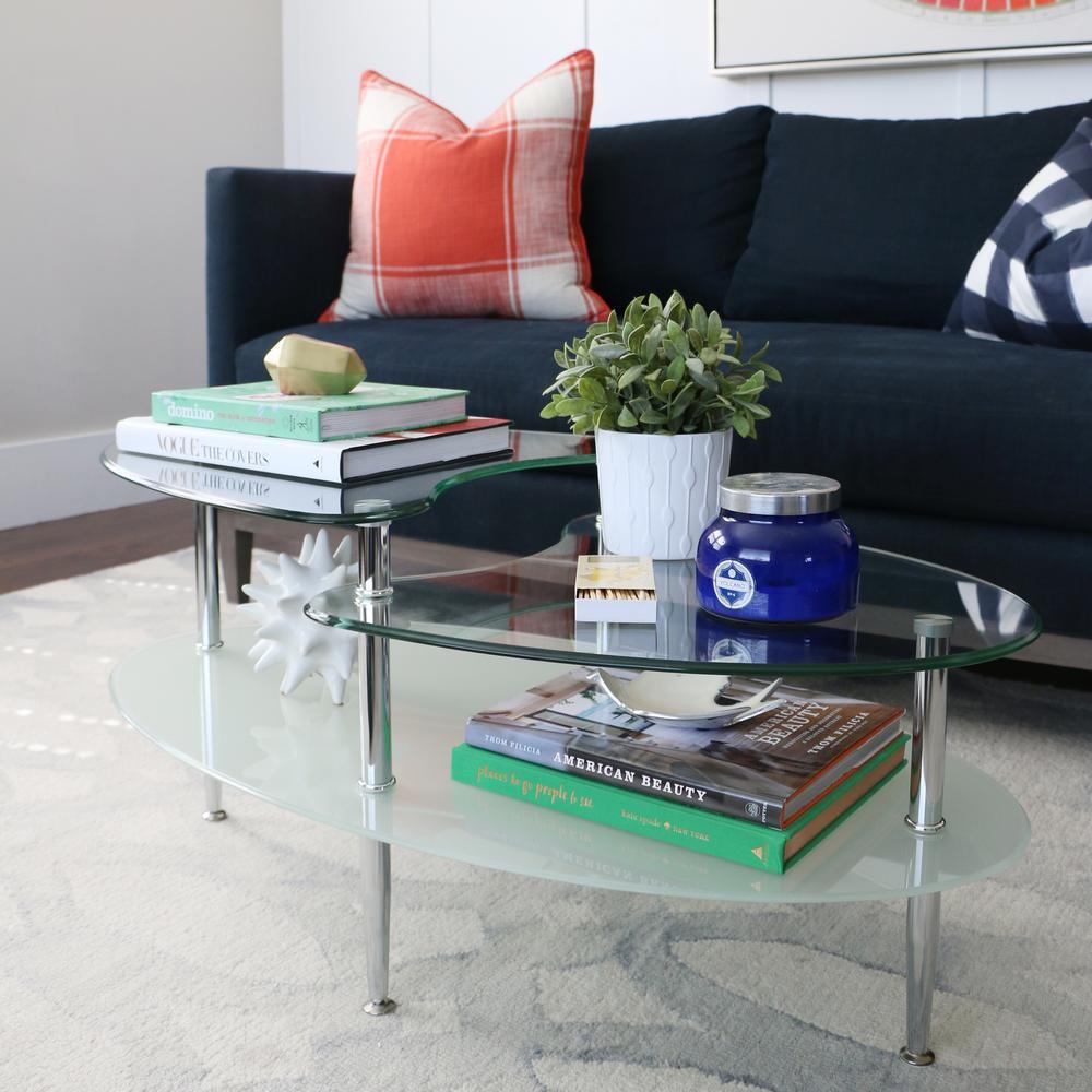 Walker Edison Furniture Company Mariner Glass Storage Coffee Table