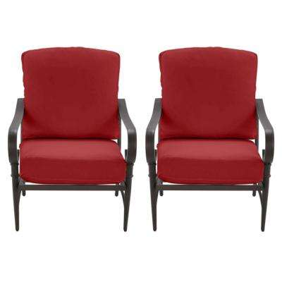 Oak Cliff Brown Steel Outdoor Patio Lounge Chair with CushionGuard Chili Red Cushions (2-Pack)