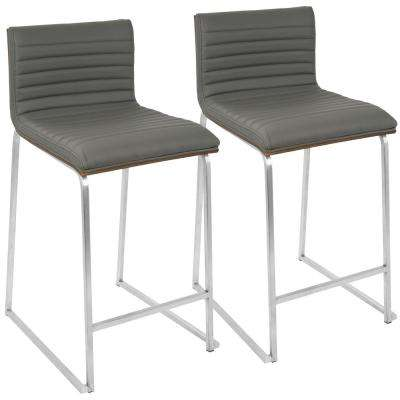 Mara 26 in. Walnut and Grey Counter Stool (Set of 2)