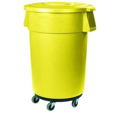 Bronco 44 Gal. Yellow Round Trash Can with Dolly (3-Pack)