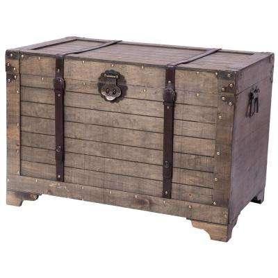 Old Fashioned Large Natural Wood Storage Trunk