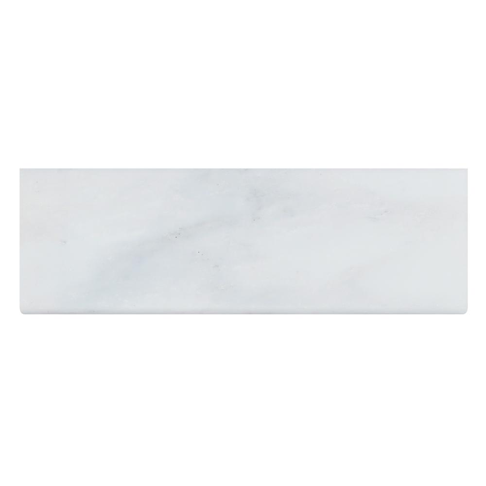 Greecian White Base Board 4 in. x 12 in. Polished Marble