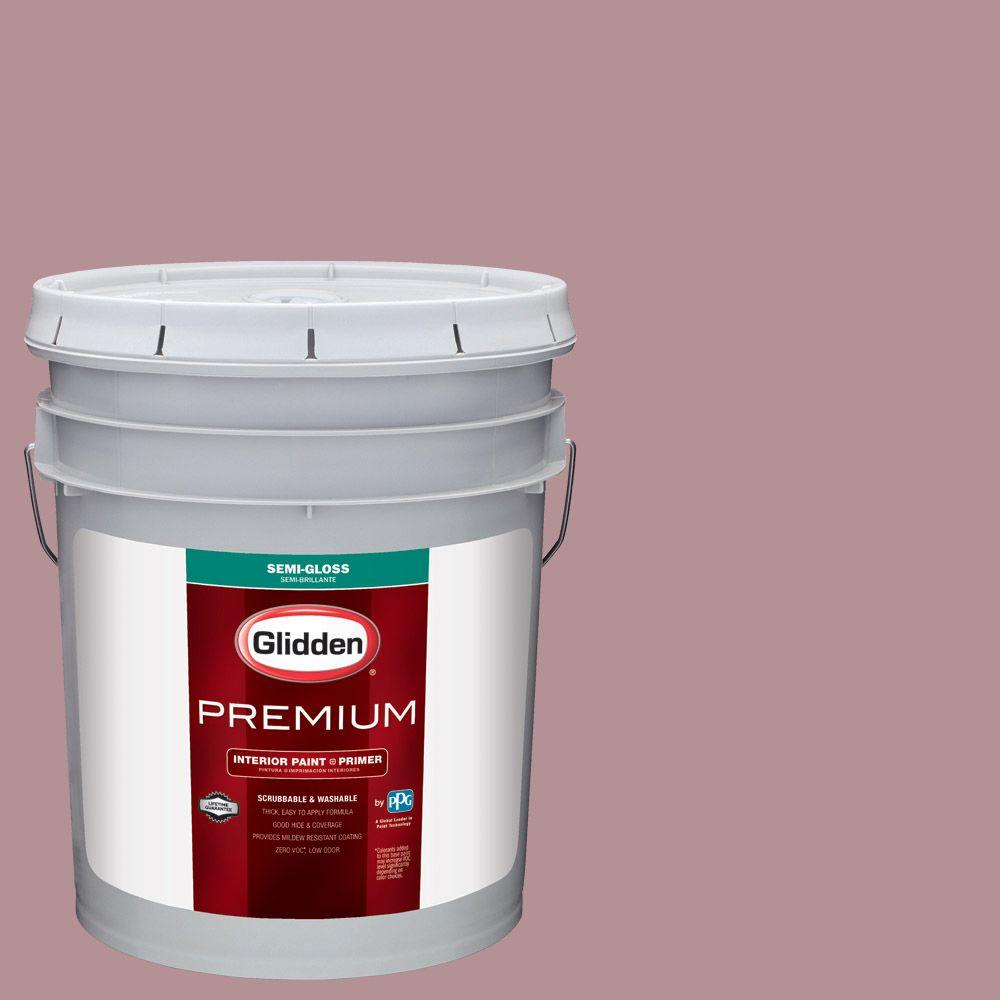 Glidden Premium 5 Gal. #HDGR24 Colony Rose Semi Gloss Interior Paint With  Primer