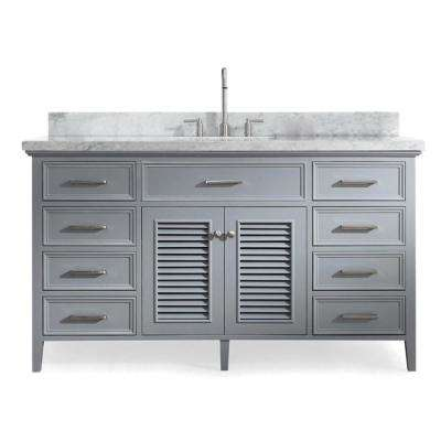 Kensington 61 in. Bath Vanity in Grey with Marble Vanity Top in Carrara White with White Basin