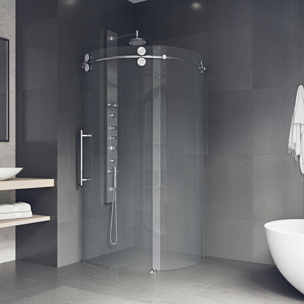 Awesome Frameless Corner Bypass Round Shower Enclosure In
