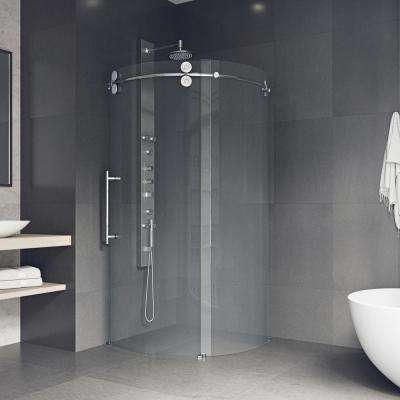 Sanibel 38 in. x 74.625 in. Frameless Corner Bypass Round Shower Enclosure in Chrome with Left-Sided Opening