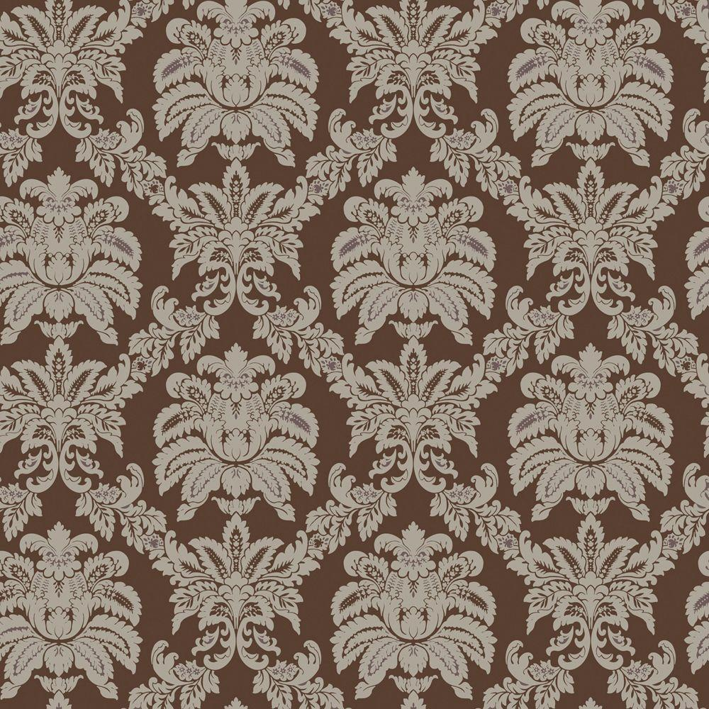 The Wallpaper Company 56 sq. ft. Brown and Metallic Sweeping Damask Wallpaper