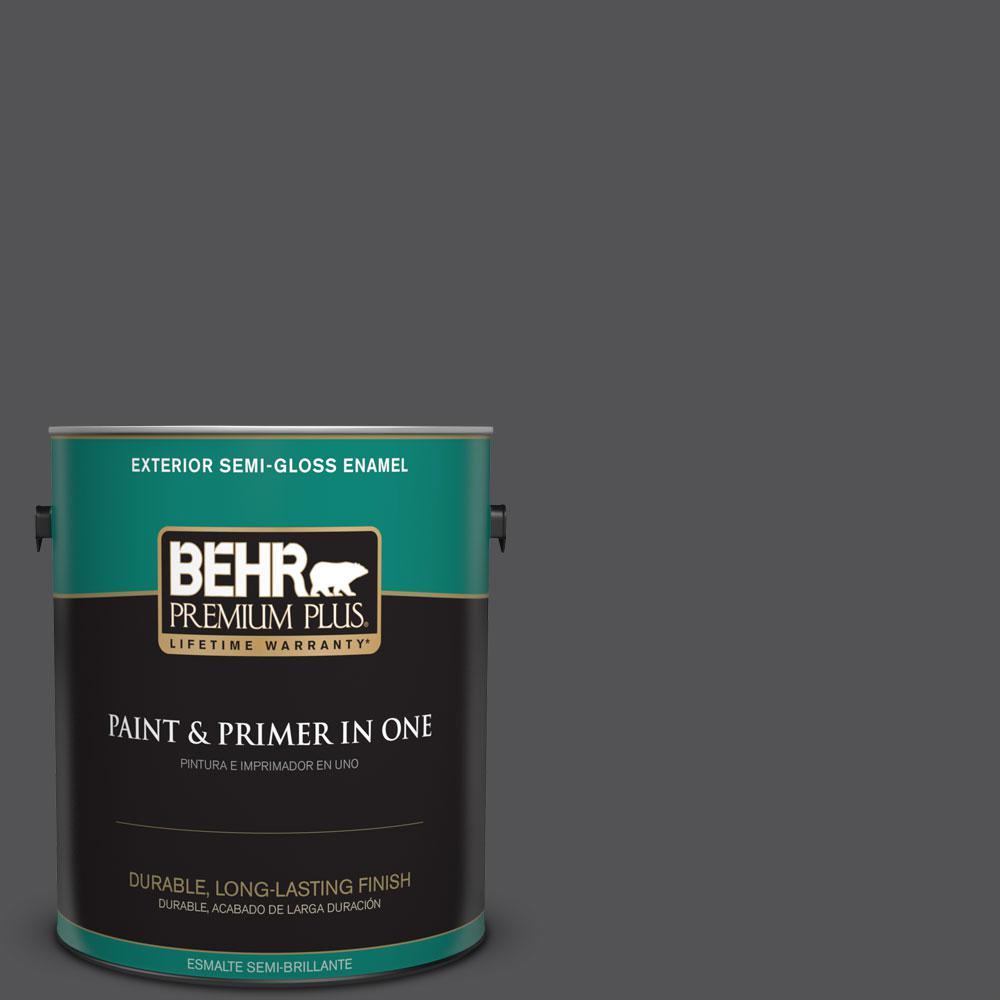 1-gal. #BXC-30 Black Space Semi-Gloss Enamel Exterior Paint