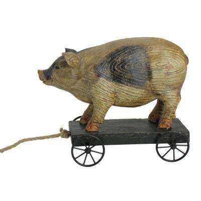 10 in. Black and White Wood Textured Pig on Cart Outdoor Garden Statue
