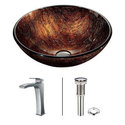 Kenyan Twilight Vessel Sink in Multicolor with Faucet in Chrome