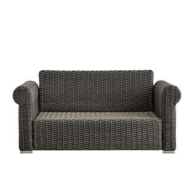Camari Charcoal Rolled Arm Wicker Outdoor Loveseat