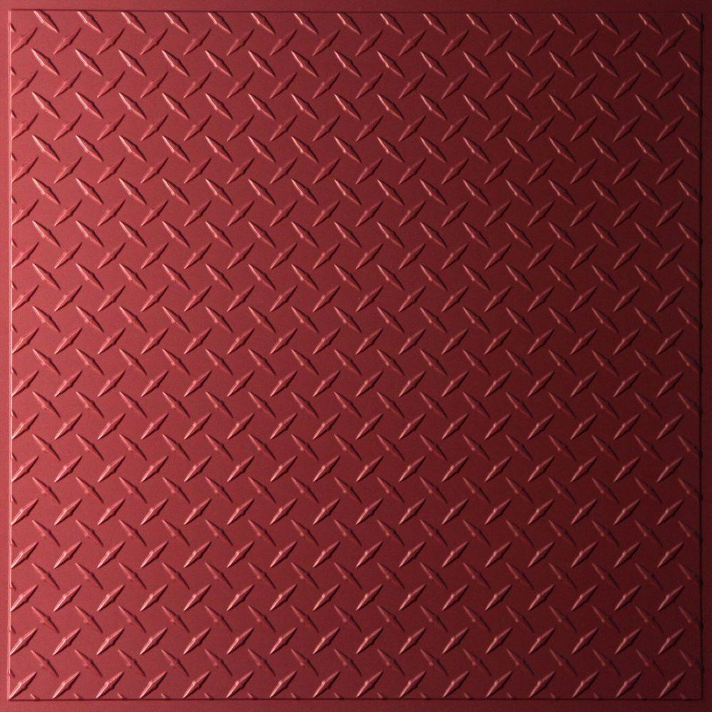 Ceilume Diamond Plate Merlot Evaluation Sample, Not suitable for installation - 2 ft. x 2 ft. Lay-in or Glue-up Ceiling Panel