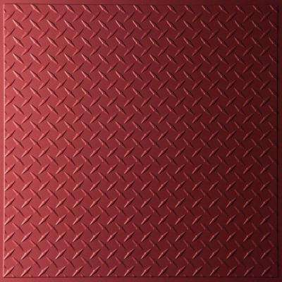 Diamond Plate Merlot 2 ft. x 2 ft. Lay-in or Glue-up Ceiling Panel (Case of 6)