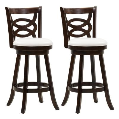 Woodgrove 29 in.Wood Swivel Bar Stools with White Leatherette Seat and Circular Design (Set of 2)