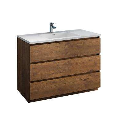 Lazzaro 48 in. Modern Bathroom Vanity in Rosewood with Vanity Top in White with White Basin