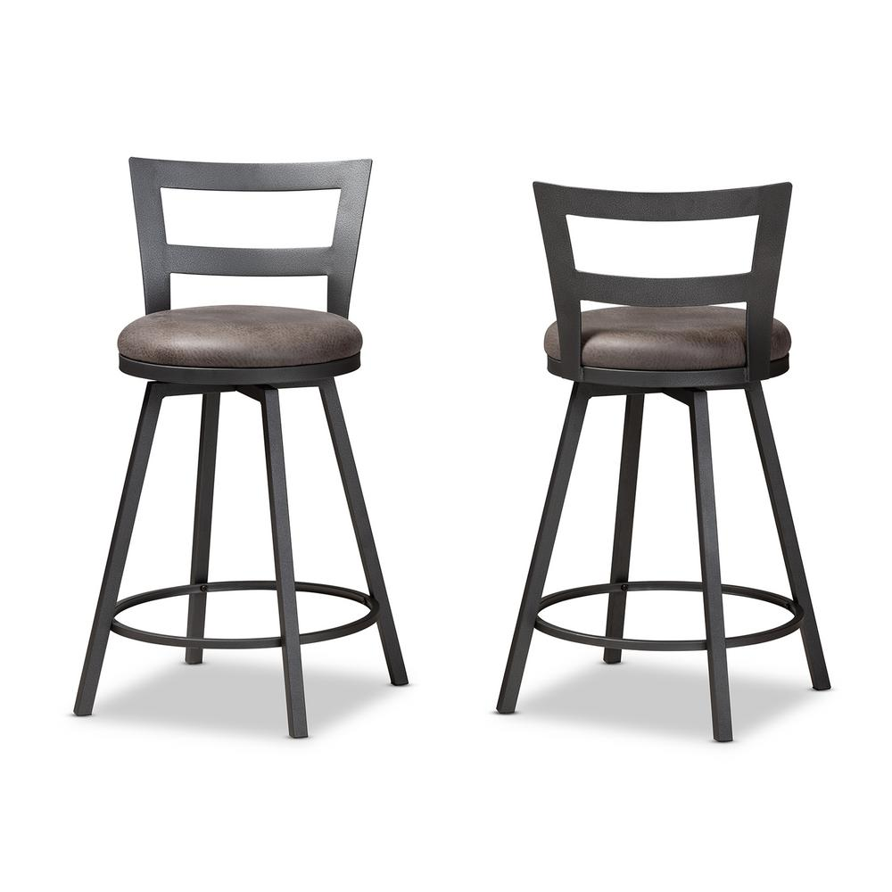 Arjean 26 in. Gray and Black Pub Stool (Set of 2)