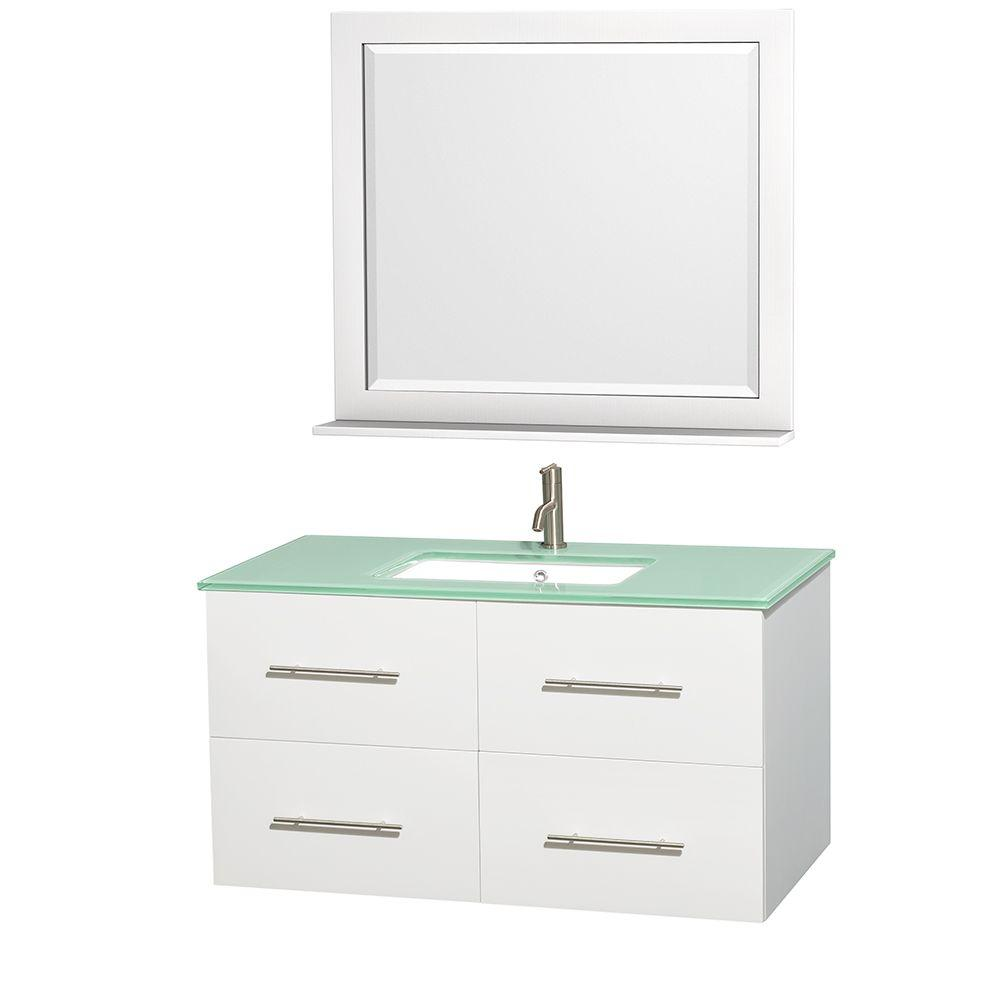Wyndham Collection Centra 42 in. Vanity in White with Glass Vanity Top in Green, Square Sink and 36 in. Mirror