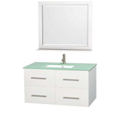 Centra 42 in. Vanity in White with Glass Vanity Top in Green, Square Sink and 36 in. Mirror