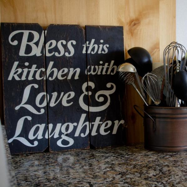 16 In X 16 In Bless This Kitchen With Love And Laughter By Boulder Innovations Wood Wall Art
