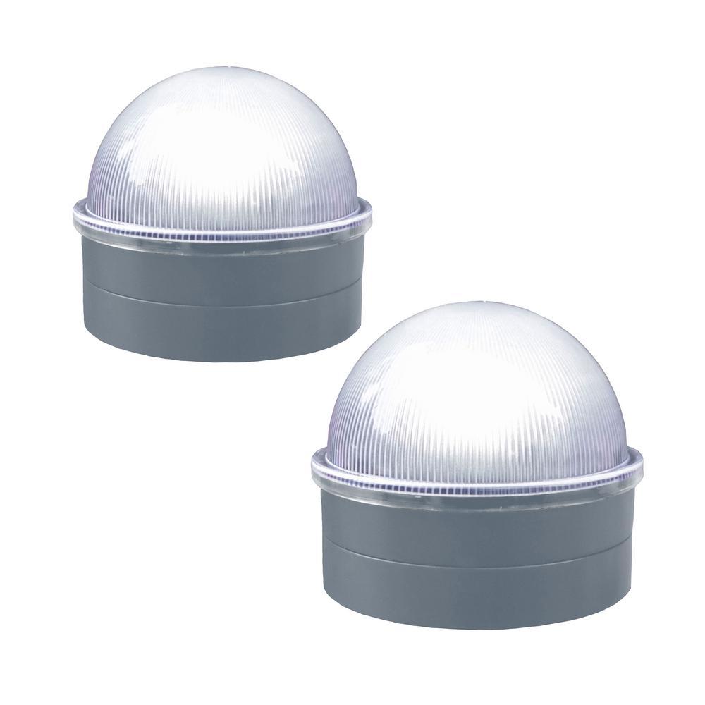 Silver Chainlink Summit Solar Post Cap LED Post Cap (2-Pack)