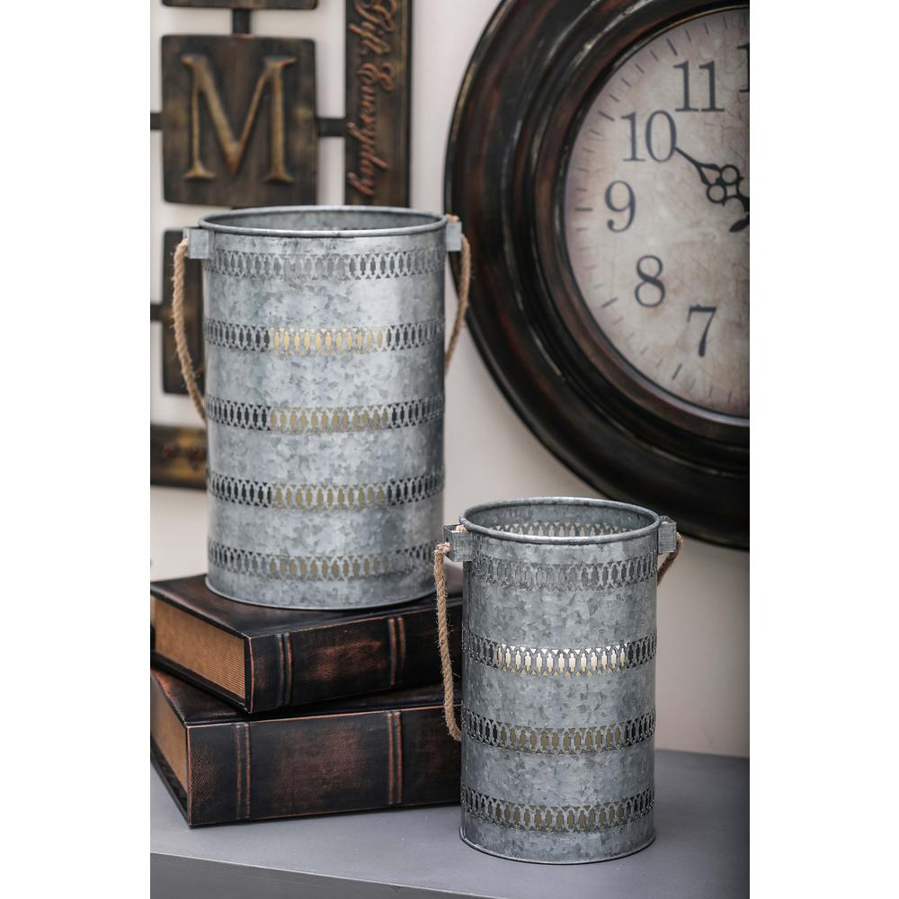Litton Lane Large: 12 in. and Medium: 10 in. Rustic Iron Candle Lanterns (Set of 2)