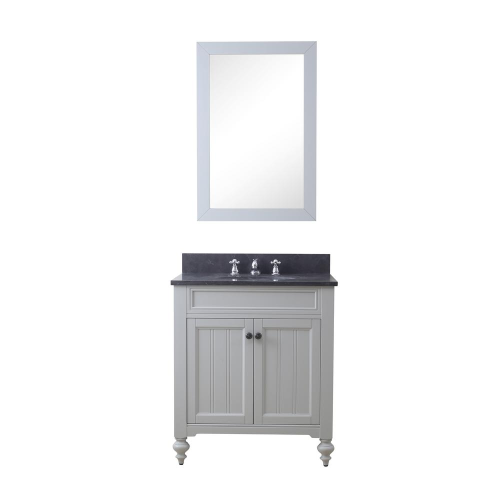 Water Creation Potenza 30 in. W x 33 in. H Vanity in Earl Grey with Granite Vanity Top in Blue Limestone with Basin, Mirror and Faucet