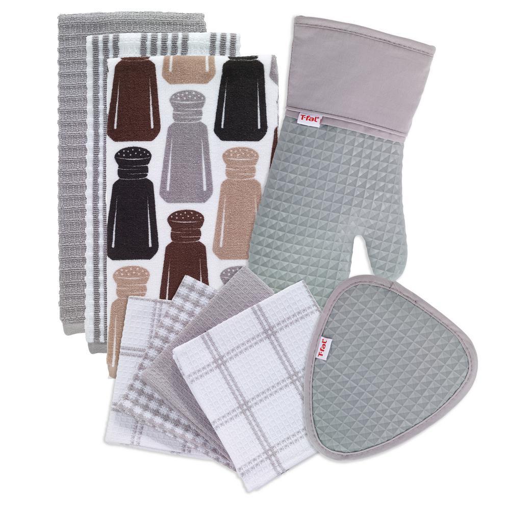 T-Fal Gray Cotton Kitchen Textile Set (Set of 9)