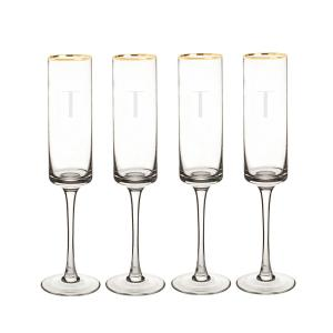 Personalized Gold Rim Contemporary Champagne Flutes - T