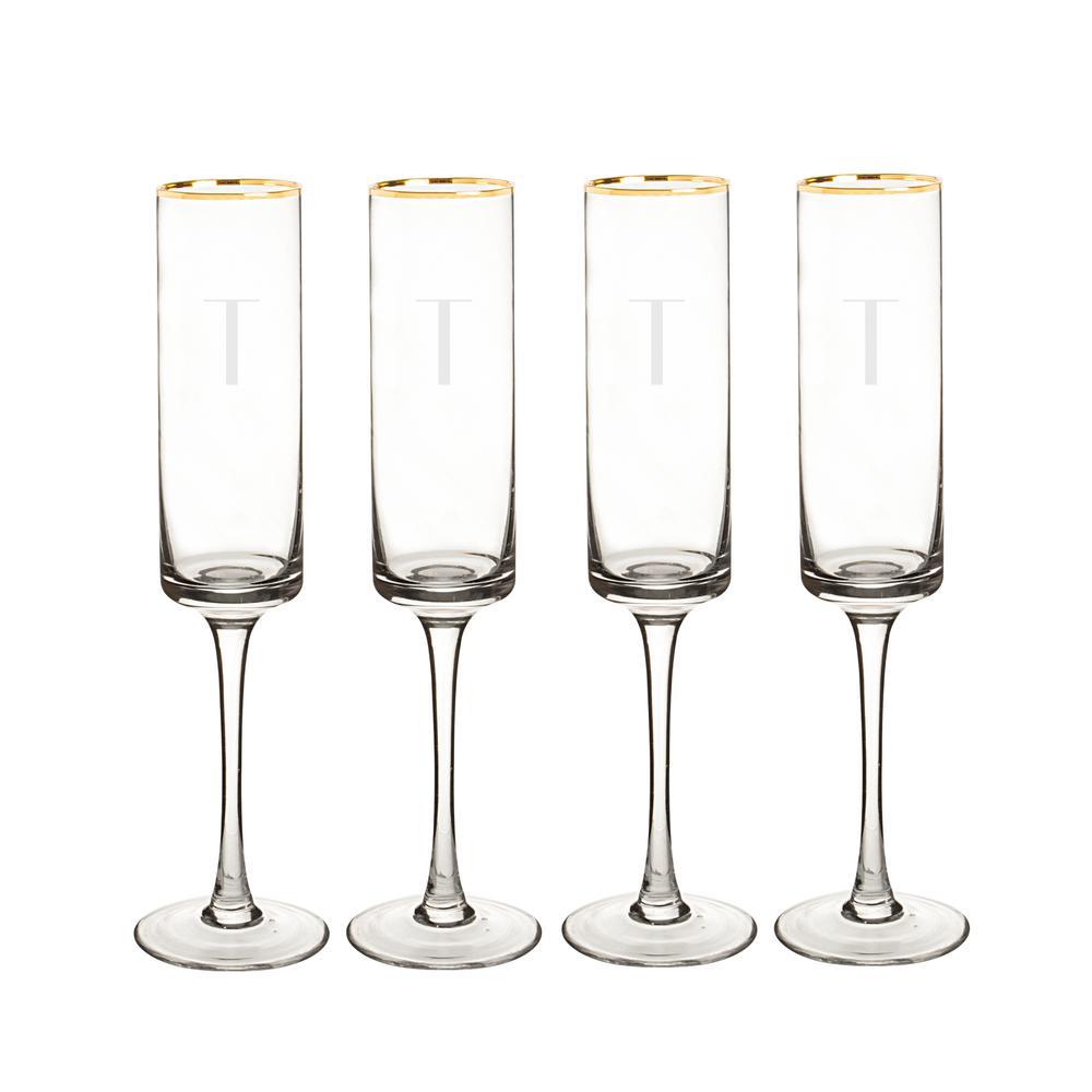 Personalized Gold Rim Contemporary Champagne Flutes - T