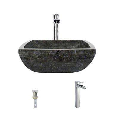 Stone Vessel Sink in Butterfly Blue Granite with 731 Faucet and Pop-Up Drain in Chrome