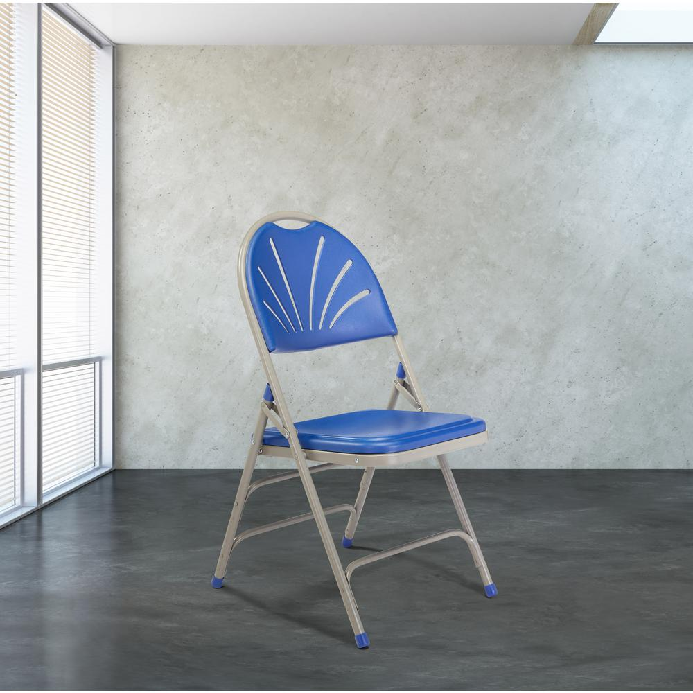 Remarkable National Public Seating Blue Plastic Seat With Fan Back Stackable Outdoor Safe Folding Chair Set Of 4 Ibusinesslaw Wood Chair Design Ideas Ibusinesslaworg