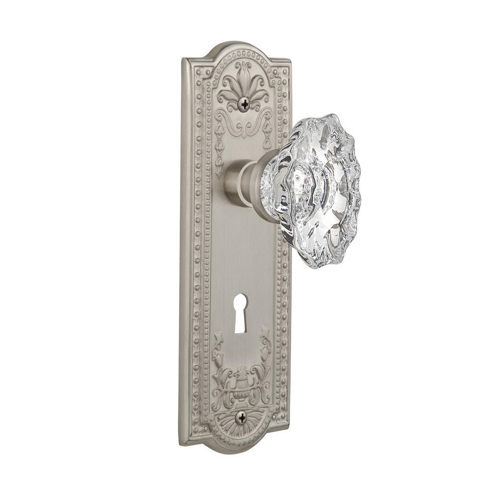 Nostalgic Warehouse Meadows Plate with Keyhole 2-3/4 in. Backset Satin Nickel  sc 1 st  The Home Depot & Nostalgic Warehouse Meadows Plate with Keyhole 2-3/4 in. Backset ...