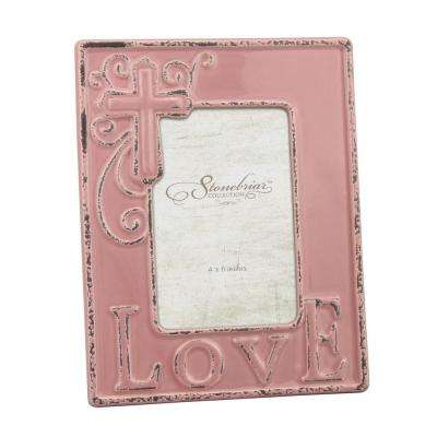 1-Opening 4 in. x 6 in. Worn Faded Rose Ceramic Love Picture Frame