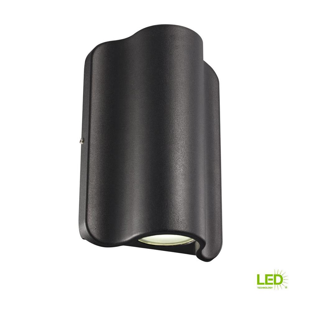 1 Light Black Outdoor Integrated LED Wall Mount Sconce