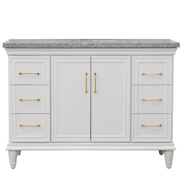 49 in. W x 22 in. D Single Bath Vanity in White with Granite Vanity Top in Gray with White Oval Basin